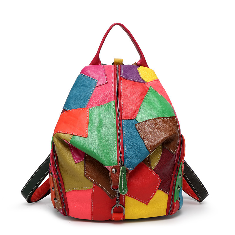 ФОТО Fashion Women Colorful Genuine Leather Backpack With Soft Handle Designer High Quality Sheep Skin Patchwork Rivet Backpacks girl