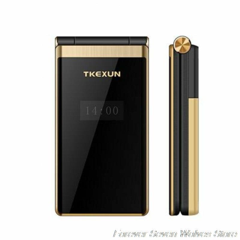 Original TKEXUN M2 Flip métal corps téléphone double écran grande batterie grand clavier 3.0 écriture écran Mobile téléphone portable à clapet