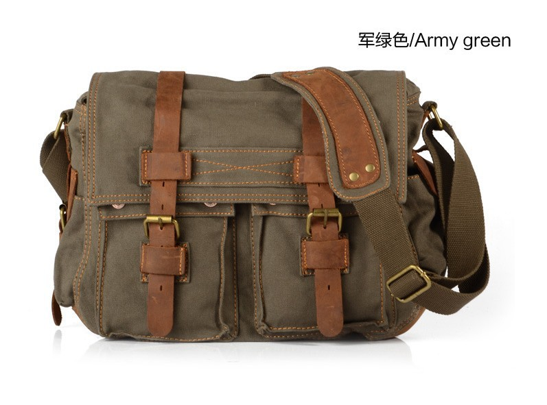 Men Vintage Style Leather Satchel School Military Shoulder Messenger Laptop Bag