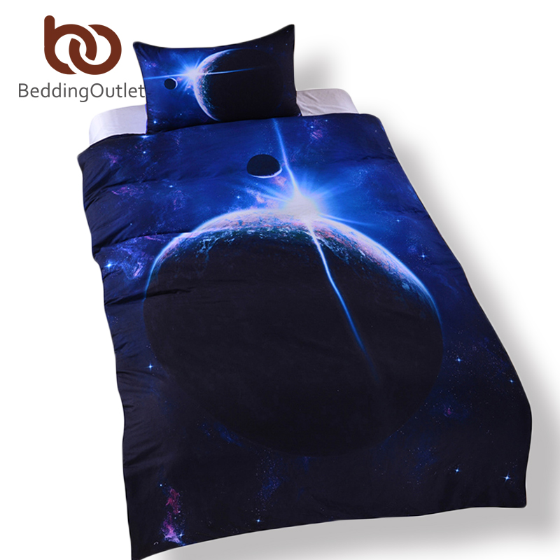 BeddingOutlet Galaxy Bedding Set Queen Size 3D Earth Moon Print Duvet Cover with Pillowcase Outer Space Quilt Cover Bed in a Bag