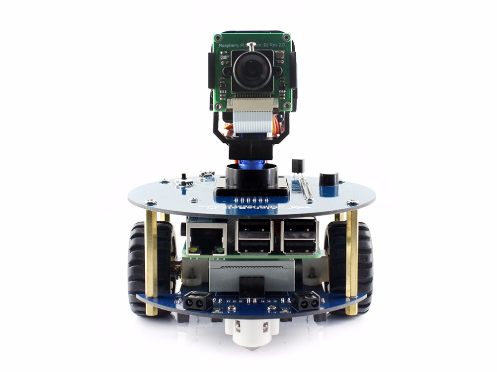 AlphaBot2 robot kit with Original Raspberry Pi 3 Model B /RPi Camera (B)/IR remote controller, auto obstacle avoiding alphabot2 robot building kit for raspberry pi 3 model b rpi camera b micro sd card card 15 acc