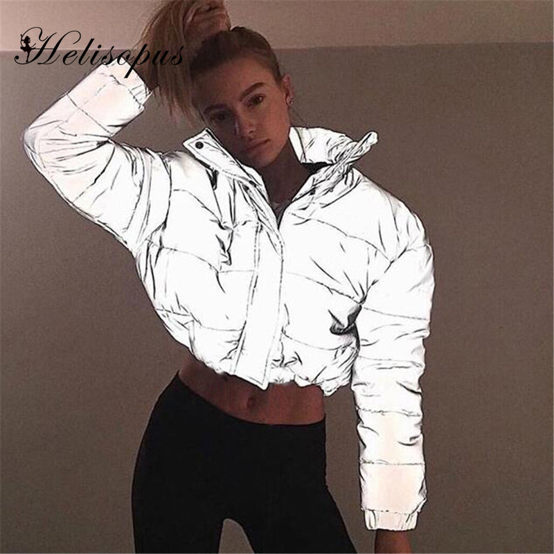 Helisopus Autumn Winter Reflective Cropped Jacket Women Fashion Streetwear   Parka   Zipper Coat Female Warm Casual Padded Outerwear