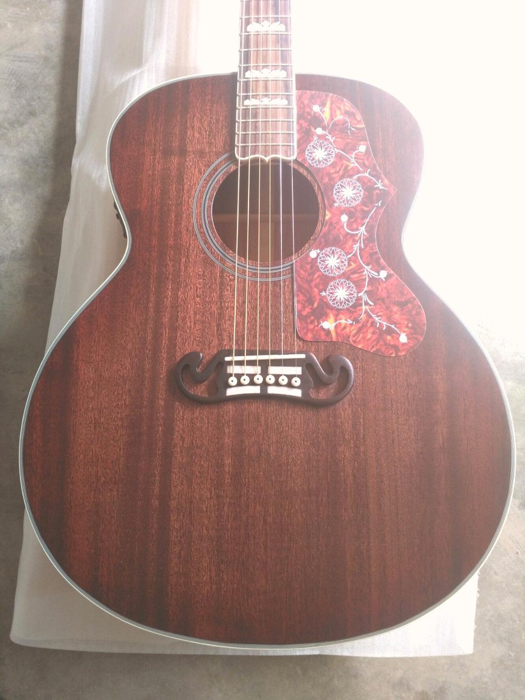 Chibson livraison gratuite jumbo taille mat finition acajou bois guitare électrique acoustique 43 pouces guitare avec G logo