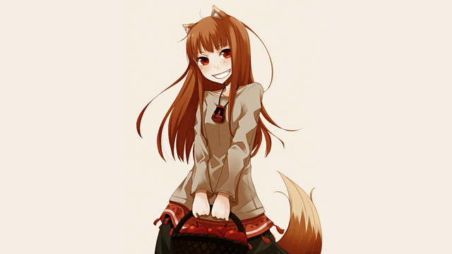 home decoration spice and wolf holo wolf girls silk fabric poster
