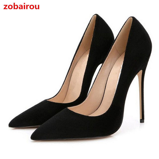 c91a75da9e Aliexpress.com : Buy Stilettos Elegant Women Shoes Sexy Pointed Toe High  Heels 12CM Office Lady's Pumps Wedding Party Suede Leather Shoes For Woman  from ...