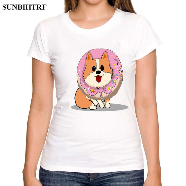 6ed413bfeab748 SUNBIHTRF 2018 Hot Summer Women T-shirt Funny Best Friends T Shirt Corgi  with Donut Print Tees Couple Cropped Tops