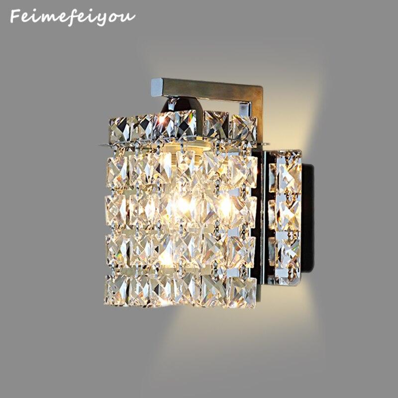 Feimefeiyou kryształowa naścienna led lampa kinkiet światła luminaria oświetlenie domu salon nowoczesne ściany światła abażur do łazienki