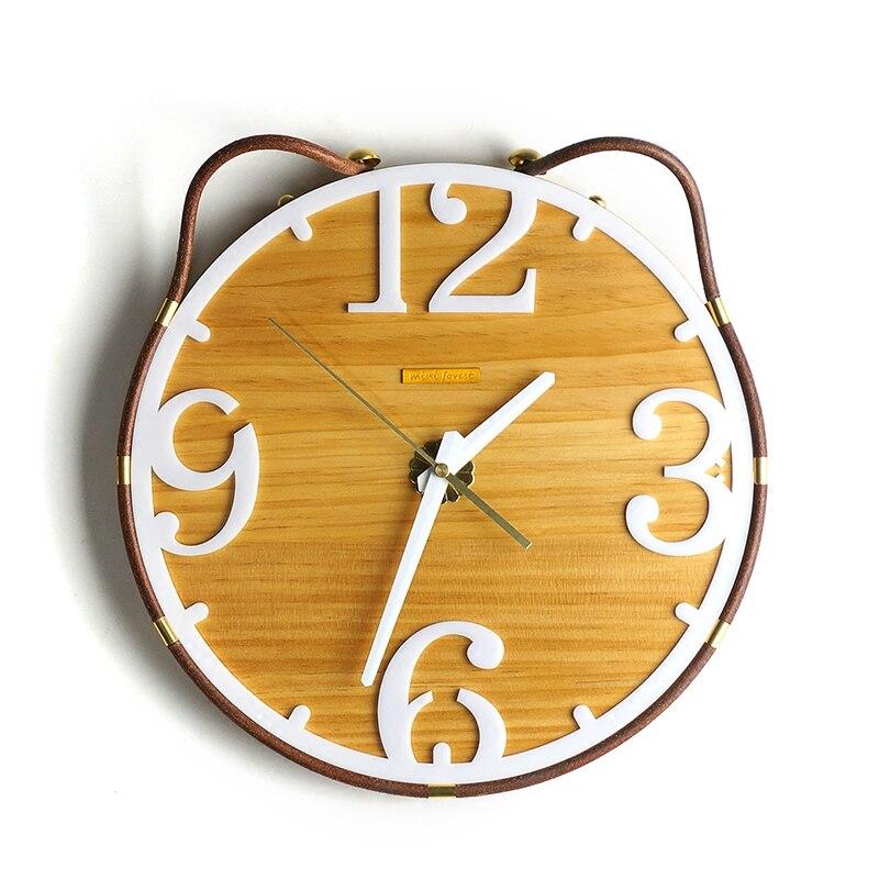 Projeto do gato de madeira criativo modelagem início relógio de parede de madeira relógio de parede Personalidade pequeno fresco - 3