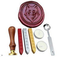 Wolf Vintage Rosewood Wax Seal Stamp Set With Gold Red Silver Sticks