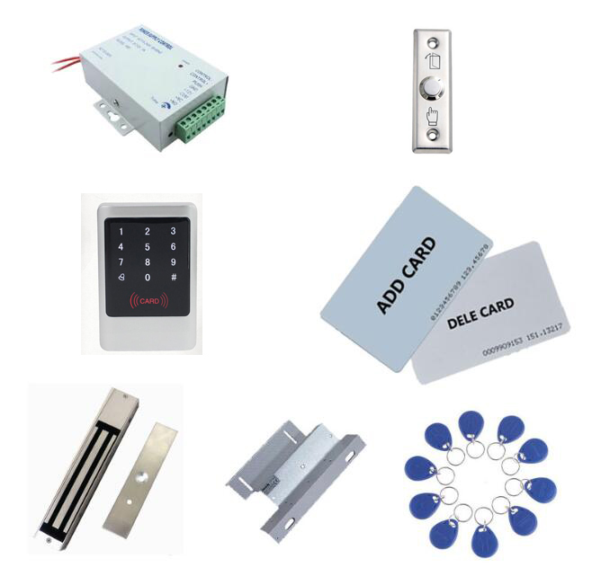 Metal access controller kit ,power+280kg magnetic lock+280kg ZL bracket + exit button+10 keyfob ID tags,sn:Tset 8