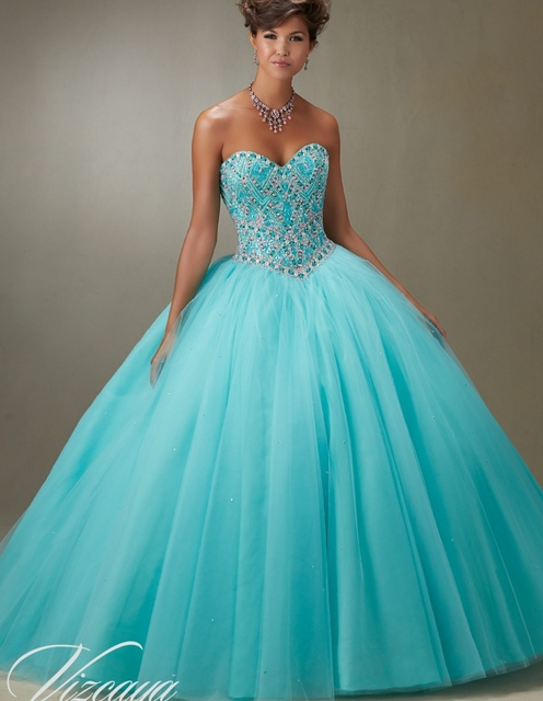 Cheap Quinceanera Gowns Sweet 16 Princess Dresses 15 Aqua Blue Mint ...