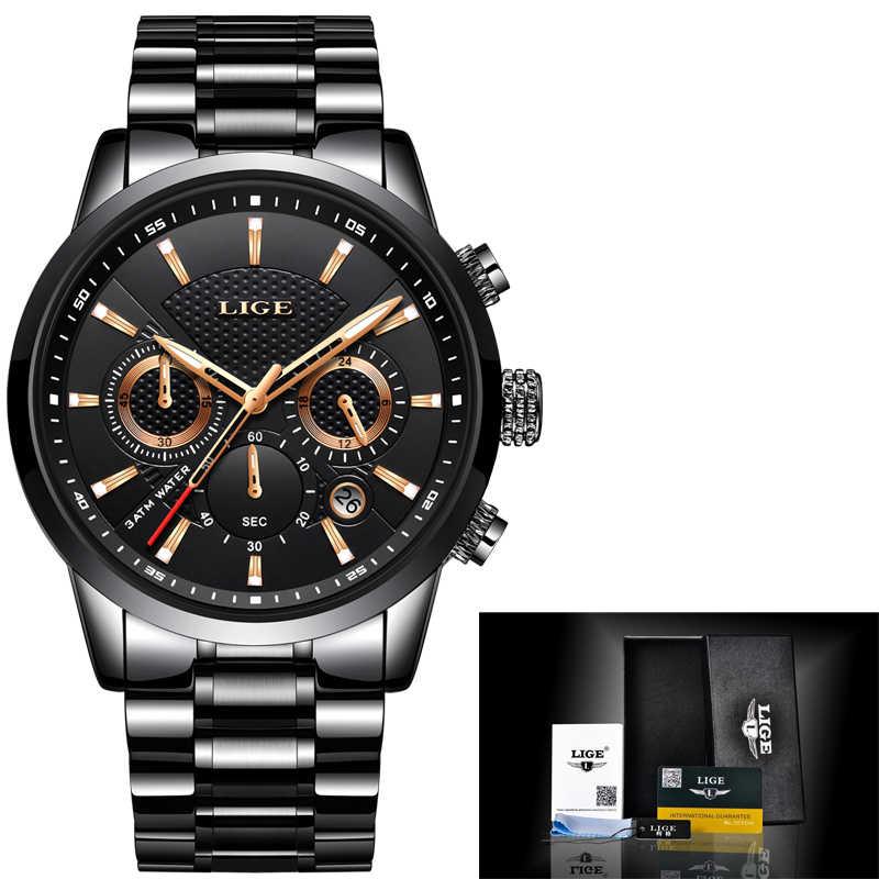 LIGE 2018 montre hommes mode Sport Quartz horloge hommes montres marque de luxe plein acier affaires étanche montre Relogio Masculino