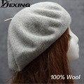 100% lã vintage inverno lã quente mulheres beret francês artista beanie chapéu de esqui cap para presente doce menina primavera e outono chapéus