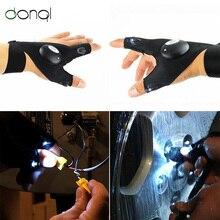 DONQL 1 пара Outoor для рыбалки, Волшебная Перчатка без пальцев, светодиодный фонарь, перчатка для выживания, кемпинга, пешего туризма, спасательный инструмент