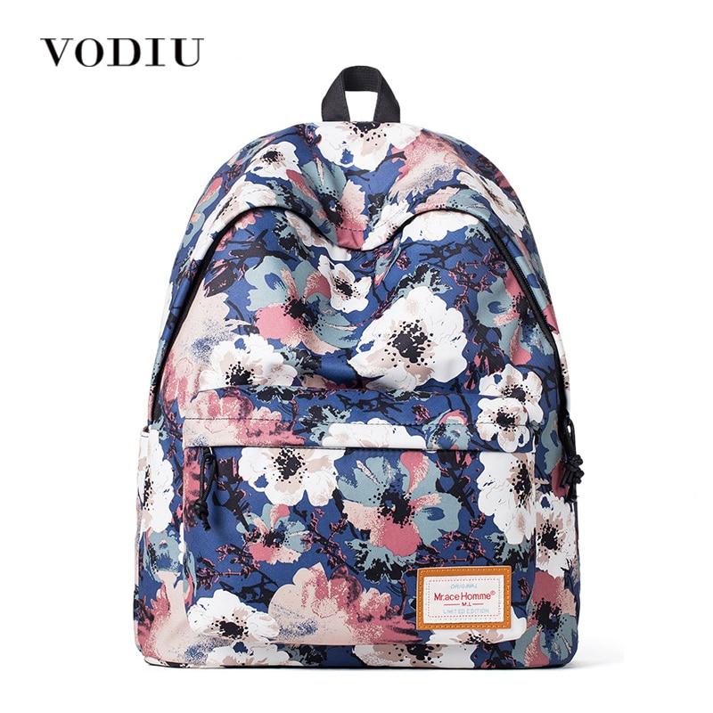 2017 Cute Vintage Designer Flower Printing Women Canvas Backpack School Laptop Bag Casual Girl High Quality Blue Female Teenager