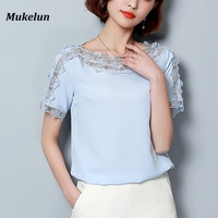 Summer Chiffon Blouse Women Casual Vintage Lace Patchwork Blue Ladies Top Women Shirts Short Sleeve Sexy