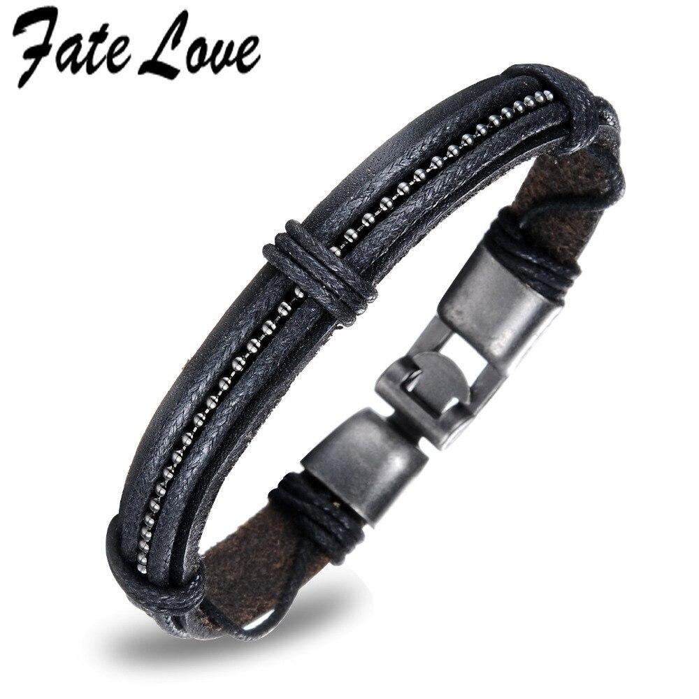 8629bf8b35b0 Fate Love estilo Punk bronce cuero genuino pulseras hombres pulsera ...