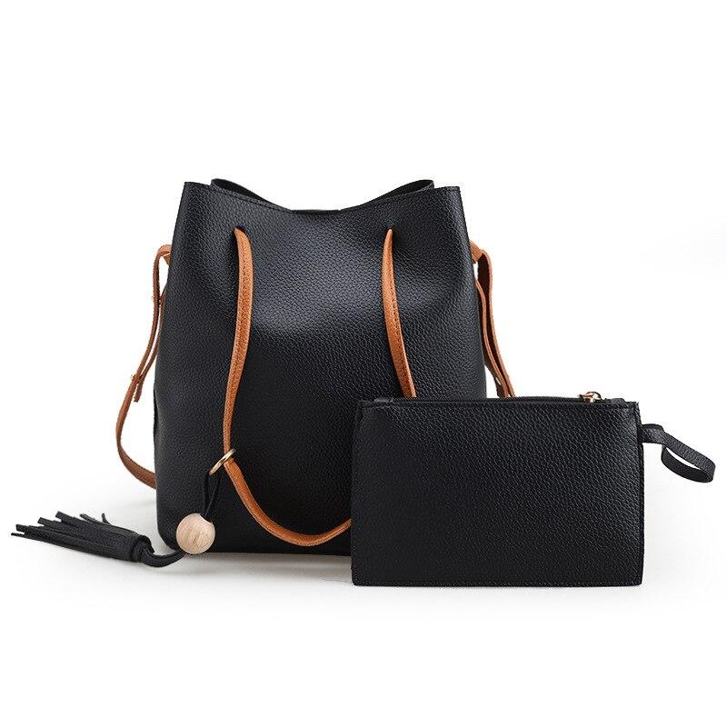 2017 2pcs/set Women Ladies PU Leather Handbags Ladies Tassels Shoulder Bags Mess