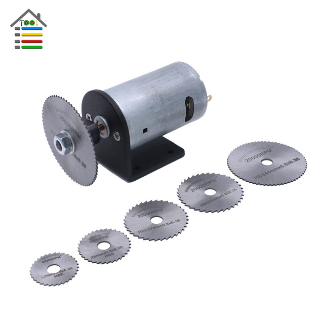 7pc Mini Electric Saw Set DC12 24V Motor Hand Saw Drill PCB Wood Cutter 22 50mm HSS Saw Blades with Bracket Stand Cutting Tool