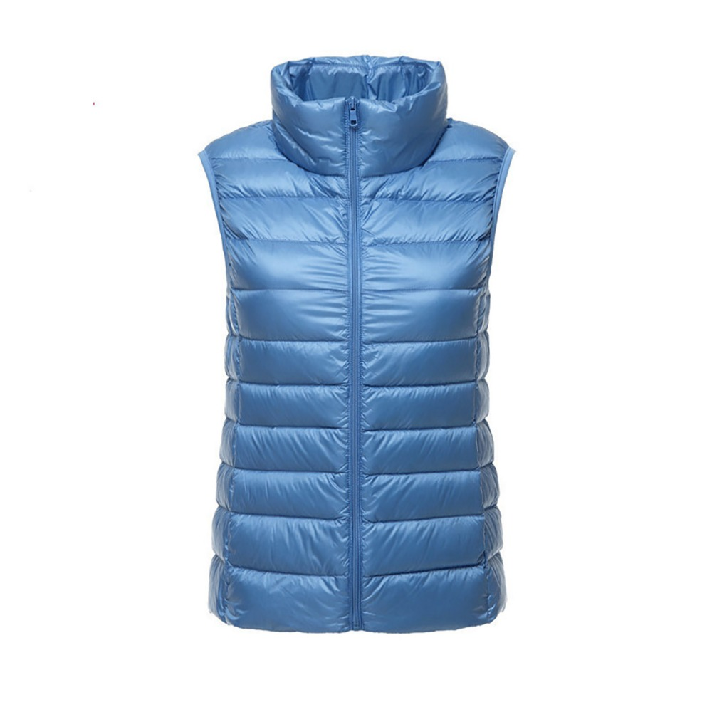 Down   Vest Women Ultra Light Warm Vest Femme Sleeveless Jacket Waistcoat Autumn Winter Female Slim White Duck   Down     Coat   Windproof