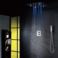 100V~240V Alternating Current LED Shower Head Embedded Box Shower Mixer Valve Thermostatic Bathroom Shower Faucet Set