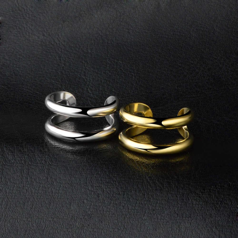 Mới Store Thép không gỉ Đơn Giản cá tính hai lớp mở Nhẫn Nữ/NAM Vàng/Plata trang sức nữ anel có thể điều chỉnh kích thước