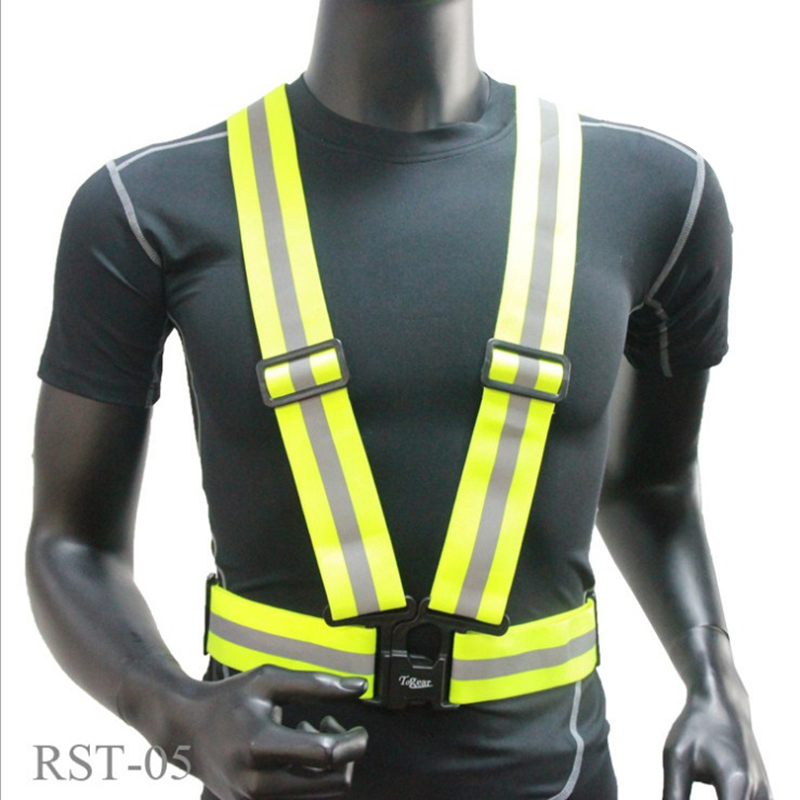 FGHGF Safety High Visibility reflection vest Waistcoat Outdoor Running Cycling Vest Harness Reflective Belt Safety Jacket new professional safety rock tree climbing rappelling harness seat sitting bust belt safety harness