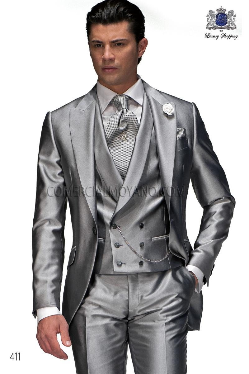 Classic Style One Button Silver Groom Tuxedos Groomsmen Mens Wedding Suits Prom Bridegroom (Jacket+Pants+Vest+Tie) NO:682