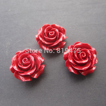 4Pcs/Lot 30mm Camelia Coral beads Large Coral flower  beads Cabochon Red color for Jewelry making