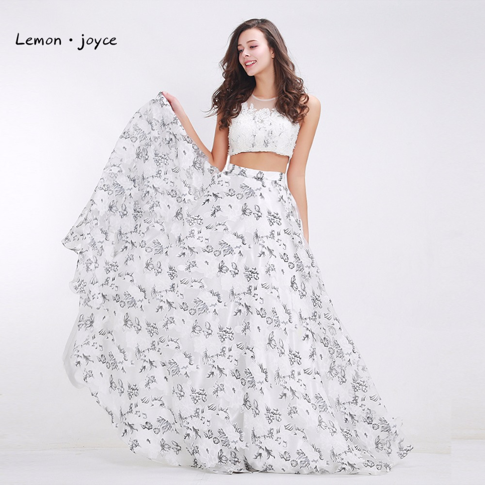 Flowers Printing Prom Dresses 2019 New Styles Fashionable Two Pieces Set Crop Top Elegant Chiffon Long