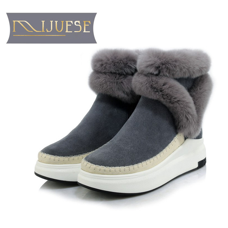 MLJUESE 2019 women ankle boots cow Suede rabbit hair winter warm short plush fur female platform flat boots snow boots zorssar 2017 new classic winter plush women boots suede ankle snow boots female warm fur women shoes wedges platform boots