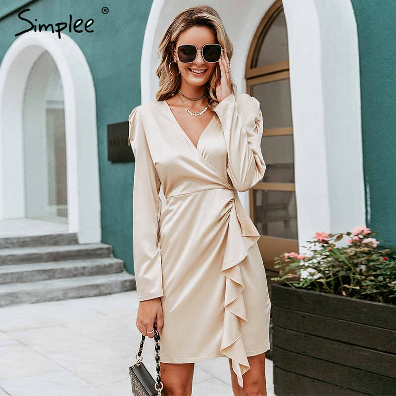 Simplee Sexy V Neck Satin Ruffle Dress Vintage Puff Sleeve Women Party Dress Office Lady Elegant Silk Midi Dress Female Vestido