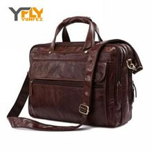 Y-fly 2016 новости 100% реального первый слой натуральной кожи мужчины портфель старинные сумка дорожная сумка портфолио ноутбук DB4743