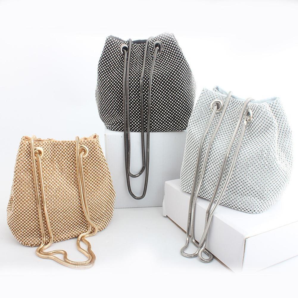 Bild av Rhinestone Inlaid Flash Bucket Clutch Bag For Evening Party Fashion Banquet Fashion Shoulder Storage Totes Bags For Women Lady