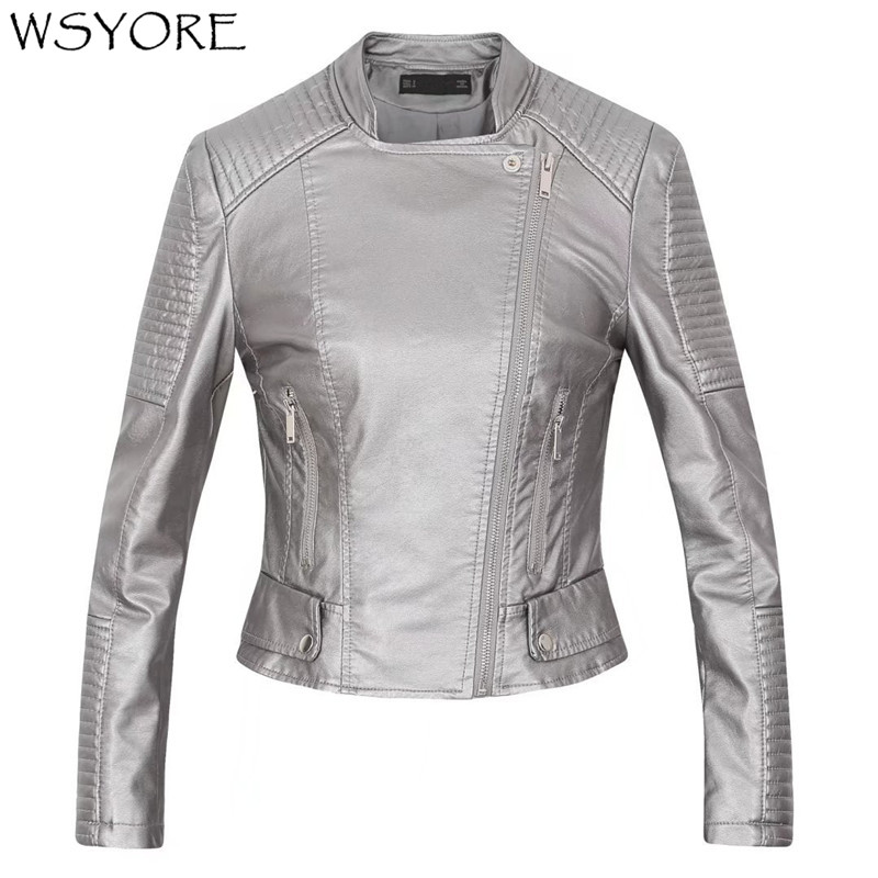 WSYORE 2019 New Arrival Spring and Autumn Fashion Motorcycle PU   Leather   Jacket Women Long Sleeve Zipper Biker Casual Coat NS325