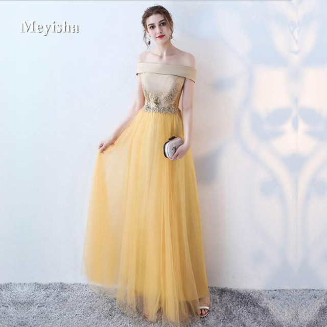 ZJ7023 A-line Long Evening Dress Vintage Off The Shoulder Prom Dresses  Crystal Belt Robe De Soiree 2018 cf361f24923e