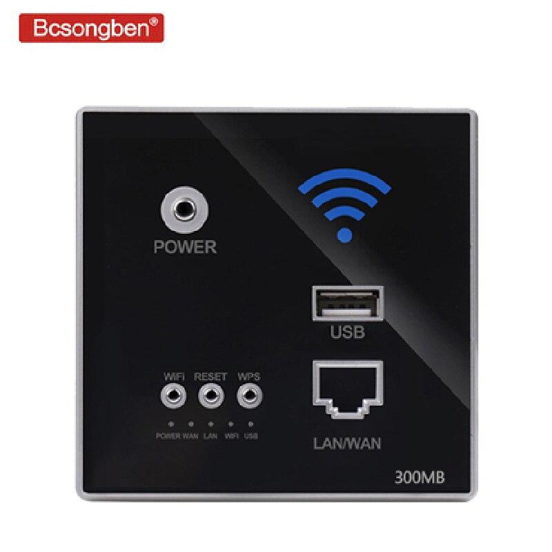 Bcsongben 300Mbps 220V Relé de potência AP extensor repetidor WI-FI Sem Fio Inteligente Painel de Parede Incorporado 2.4Ghz Router usb tomada rj45