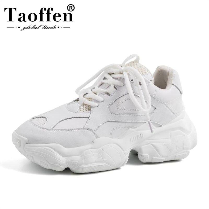 Taoffen baskets femmes en cuir véritable chaussures femmes plate-forme dames Harajuku Punk chaussures filles Chaussure Femme taille 35-42