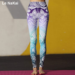 Ornamental Maya Print Yoga Leggings For Women Stunning Beautiful Yoga Pants High Waist Floral Lotus Printed Gym Tights Le NaKai