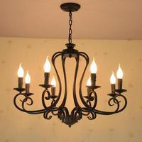 Bar rustic Iron chandelier lamps Antique industrial lighting E14 6 8 pcs New Arrival Kitchen vintage Led candle Chandeliers