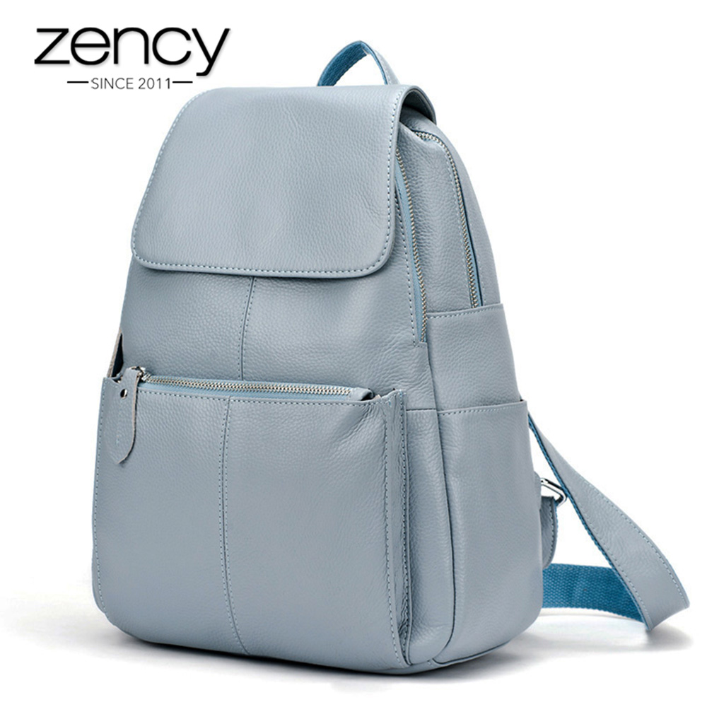 14 Colors Real Soft 100 Genuine Leather Women Backpack Fashion Ladies Travel Bag Preppy Style Schoolbags