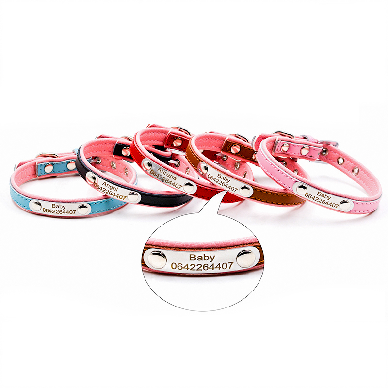 Free Engraving Personalized Dog Collars Cat Pet Name ID Collar For Small Medium Dogs Leather Dog Collars</