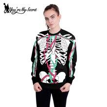 [You're My Secret] 2018 Halloween Unisex Women or Men's Sweatshirt Hoodie with No Hood Black Skeleton Digital Printing Costumes
