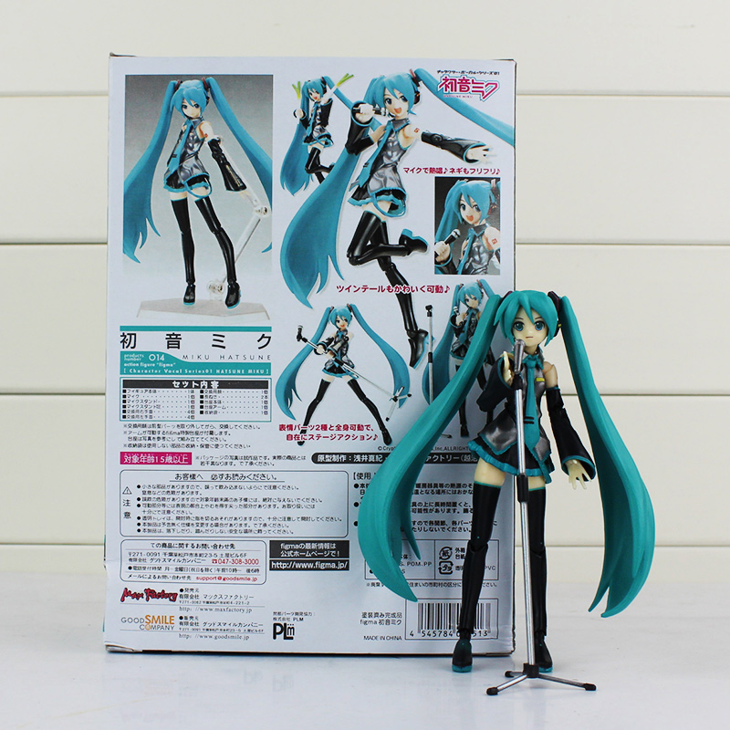 Miku Hatsune Figma 014 PVC Figure Action Toys Collection Doll For Kids Girls Gifts With Color Box 13cm