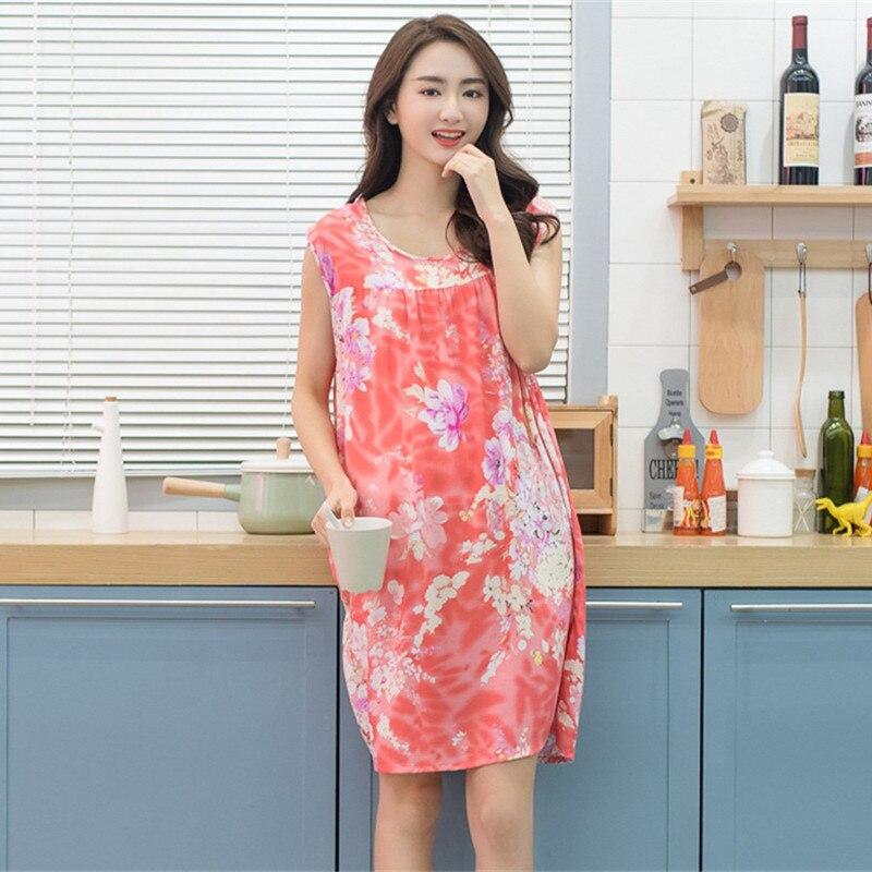 Image 4 - Women Plus Size L  XXXL Floral Sleep Shirt Dress Nightgown Women Cotton Nightdress Nightshirt Ladies Nightwear Pijama Sleepwear    -