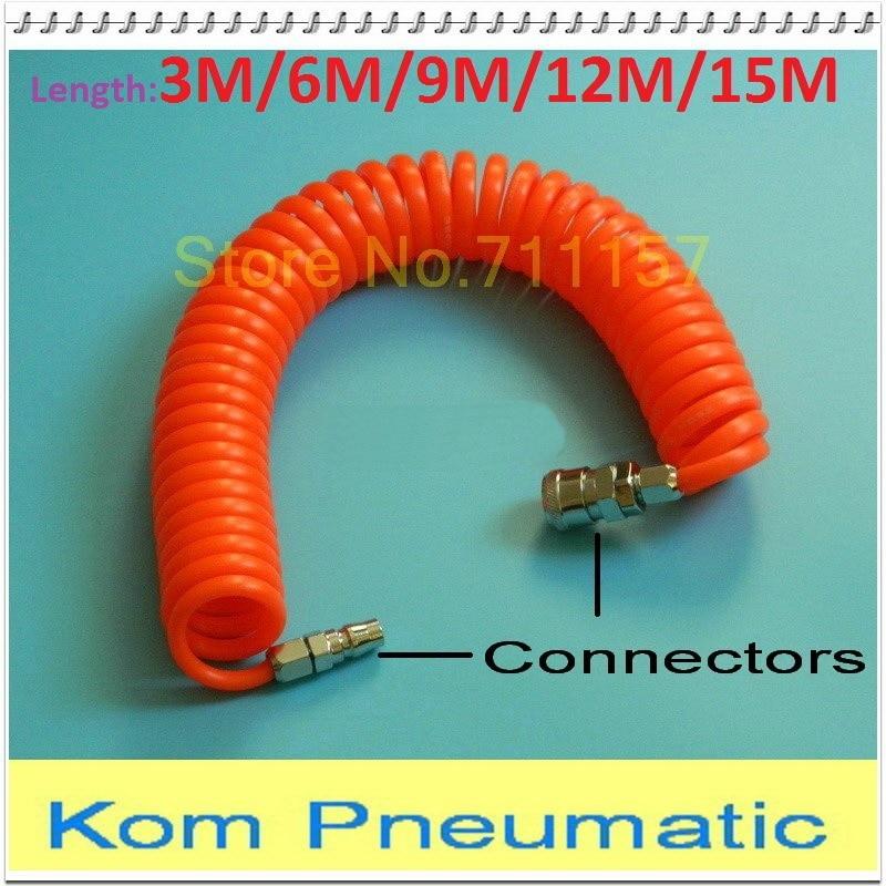 Tubo de ar compressor de poliuretano, pu 8mm x 5mm ferramenta de ar flexível com conector pu0805 tubulação espiral com mola 8*5 080050030