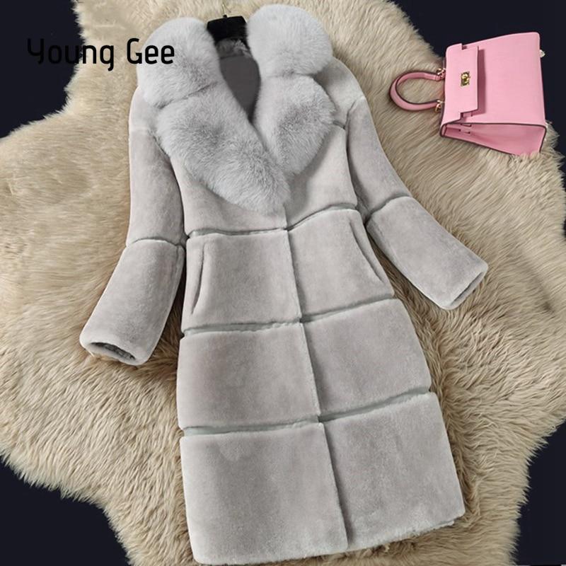 Jeune Gee 2019 Femmes Hiver Faux Fourrure de Renard Turn-Down Col Épaissir Chaud Manteaux De Fourrure Artificielle Outwear Fausse Fourrure casaco feminino