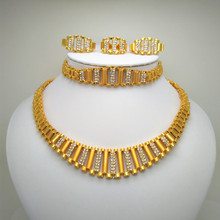 Kingdom Ma Dubai Gold Color Jewelry Set Wedding African Ethiopian Rhinestone Crystal Necklace Bracelet Earring Ring Jewelry Set недорого