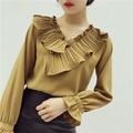 Fantasia bainha plissada ruffles chiffon blusa camisa das mulheres tops senhoras retro blusa mujer camisa chemise femme chemisier camicia donna