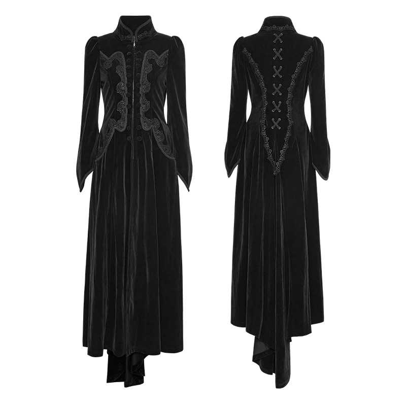 d74097e1ebd ... PUNK RAVE Gothic Palace Swallow Tail Embroidery Velveteen Long Wool  Blends Coats Vintage Pattern Party Halloween